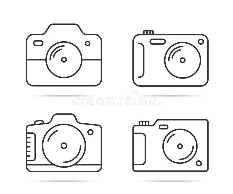 Ligne icônes d'appareil-photo illustration stock