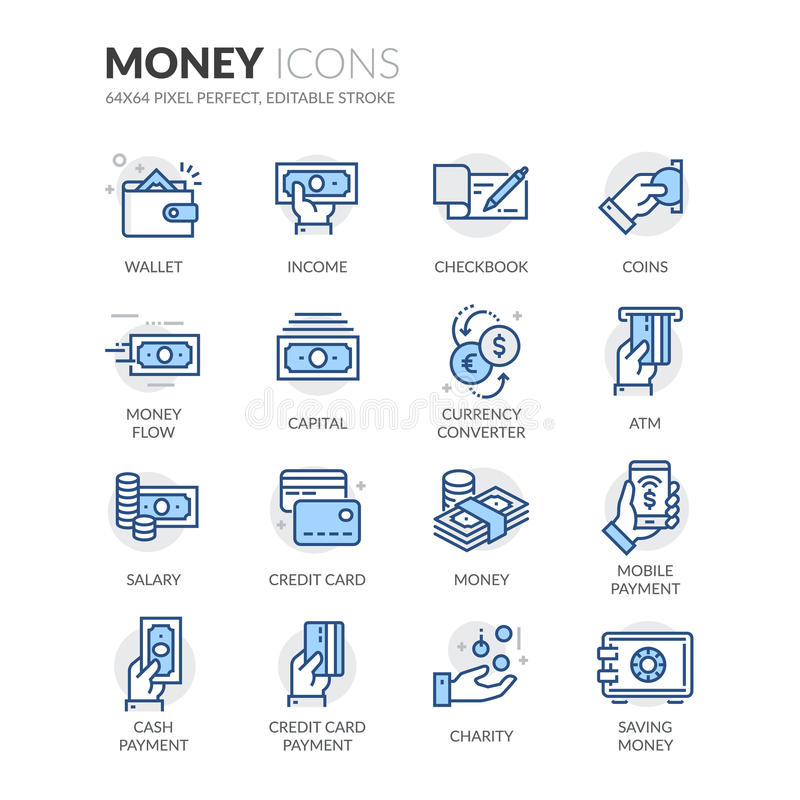 Ligne icônes d'argent illustration de vecteur