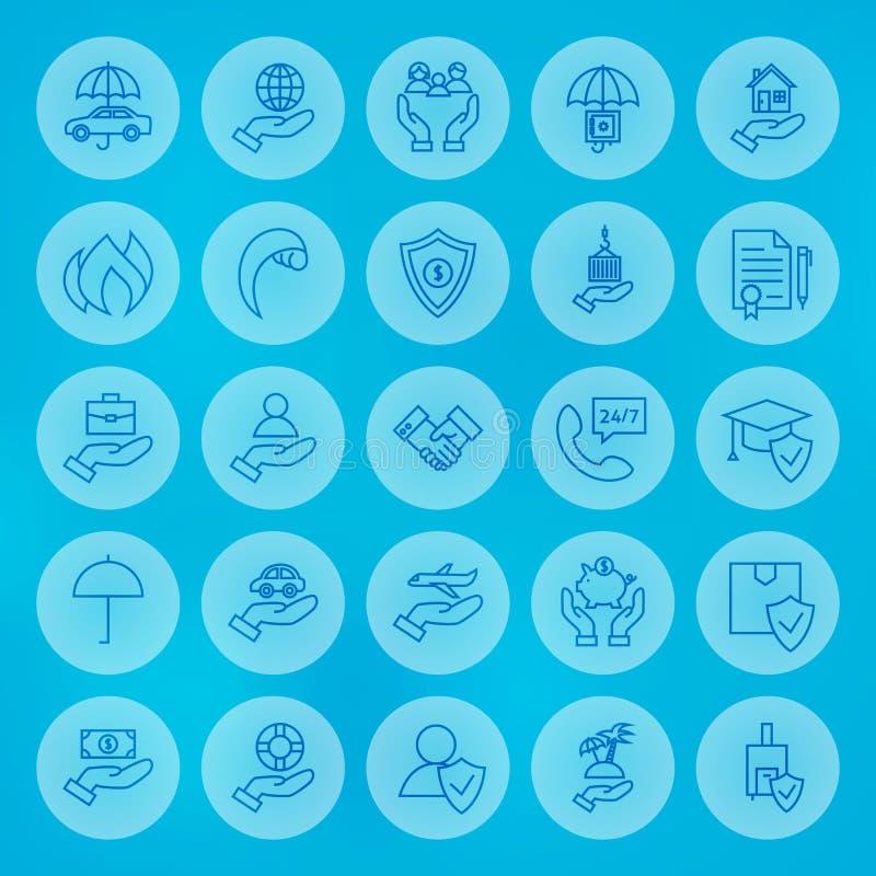 Ligne icônes d'assurance commerciale de cercle réglées illustration libre de droits