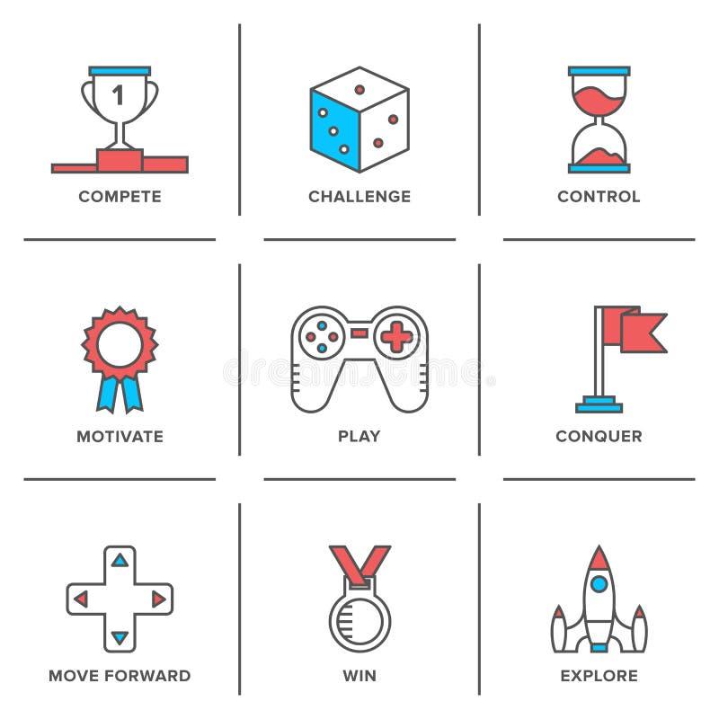 Ligne icônes d'avantage compétitif réglées illustration stock