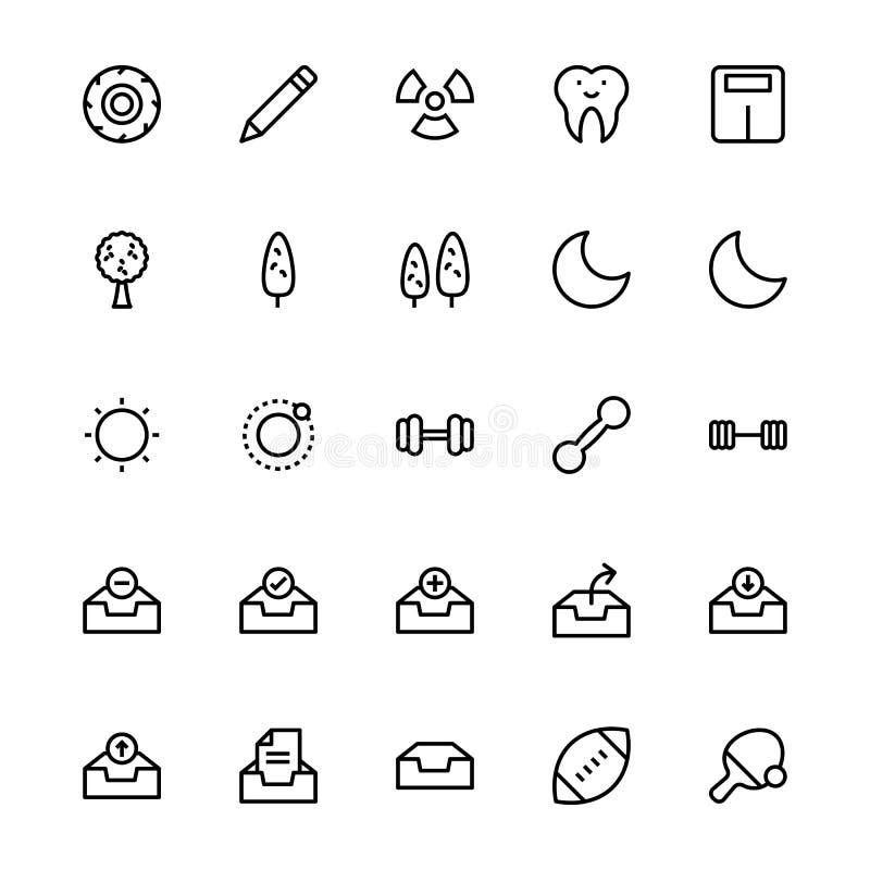 Ligne icônes 28 d'interface utilisateurs de vecteur illustration stock