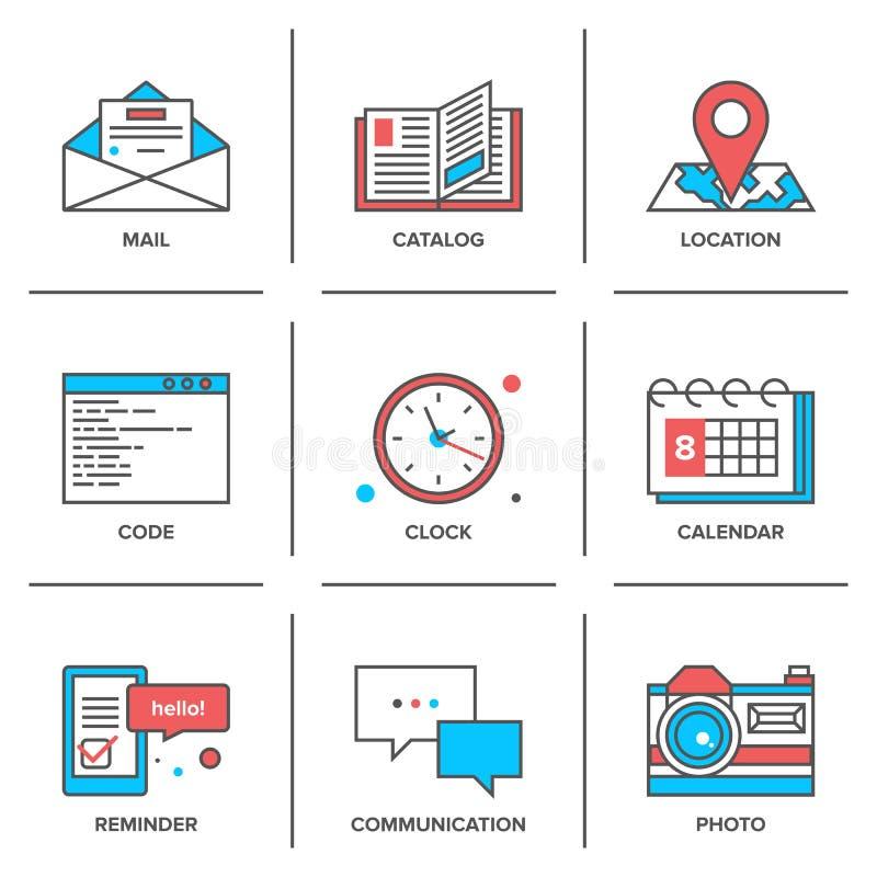 Ligne icônes d'objets de bureau réglées illustration de vecteur