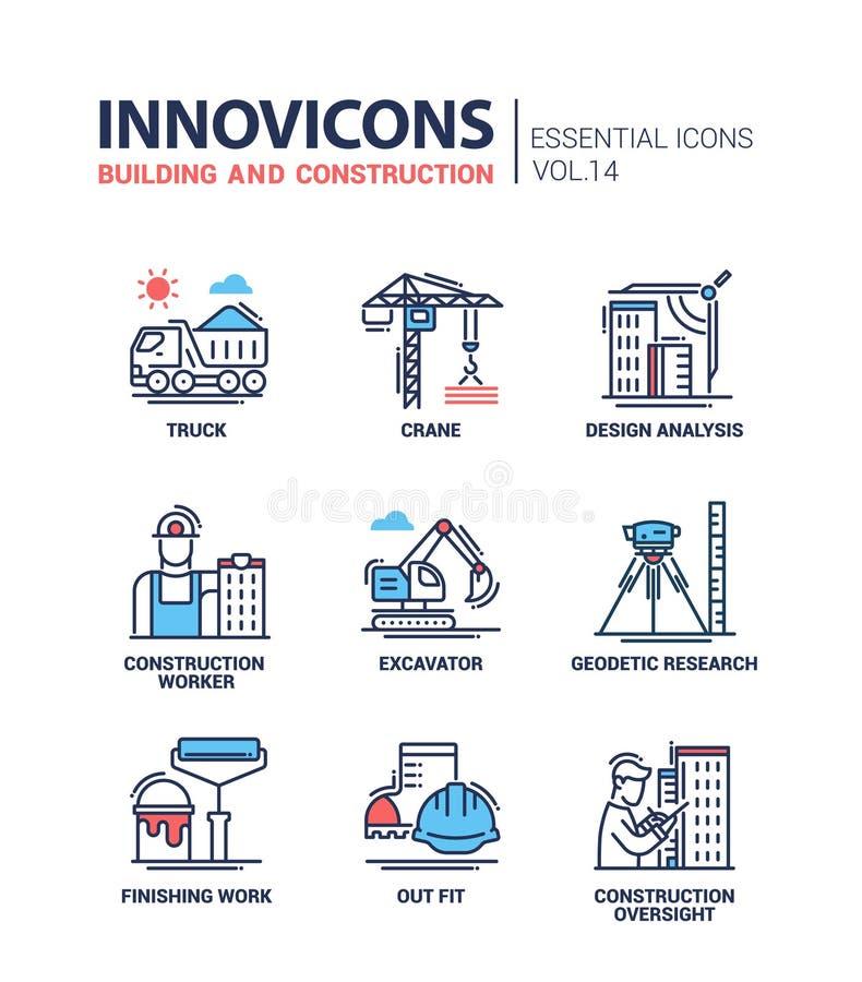 Ligne icônes de bâtiment et de construction de conception illustration de vecteur