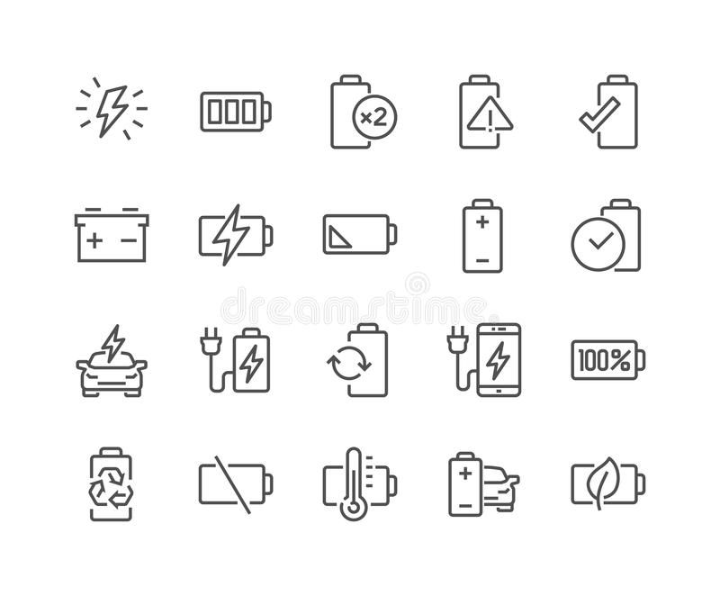 Ligne icônes de batterie illustration stock