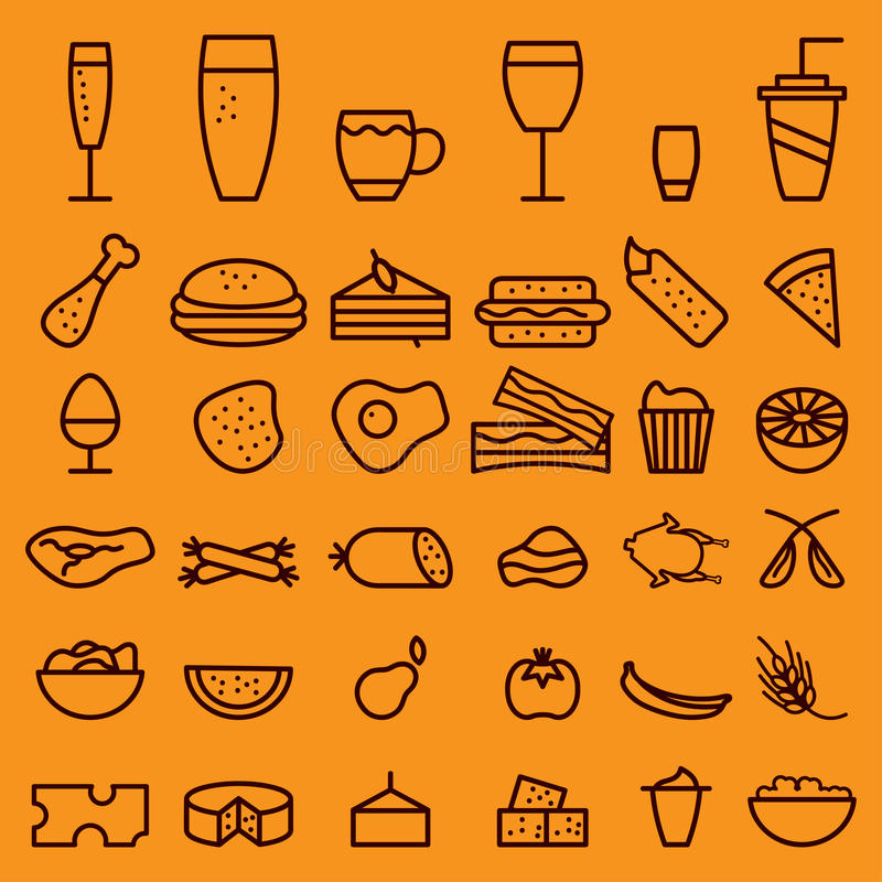 ligne icônes de boissons de métier réglées illustration libre de droits