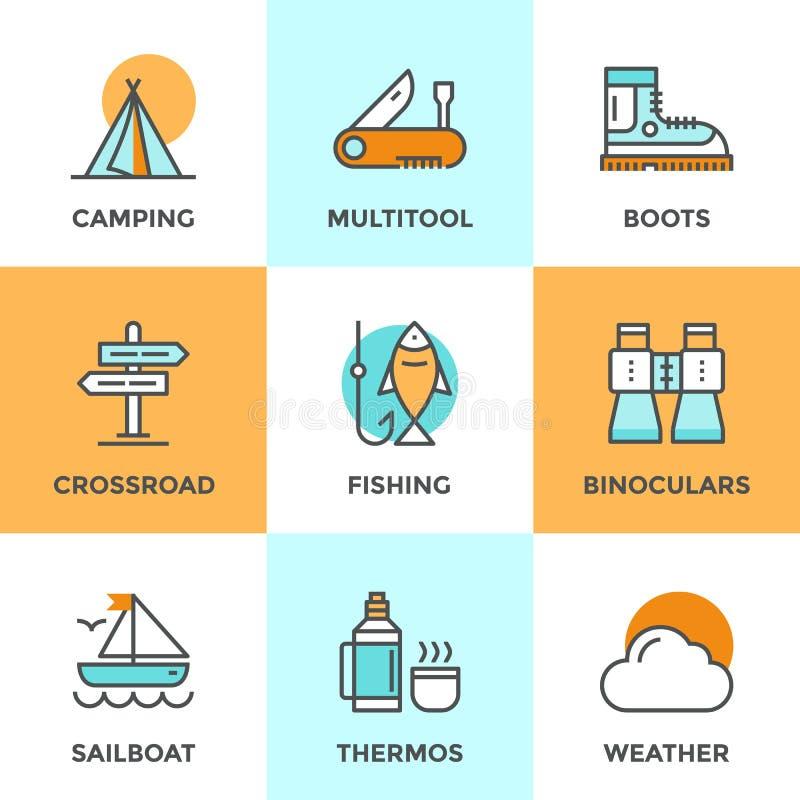 Ligne icônes de camping de récréation réglées illustration de vecteur