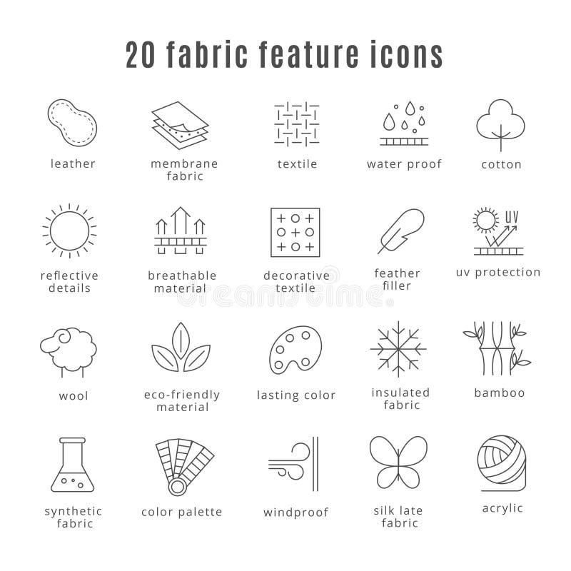 Ligne icônes de caractéristique de tissu Soulagez l'usage et léger, les signes imperméables d'habillement de laine de vêtements d illustration stock