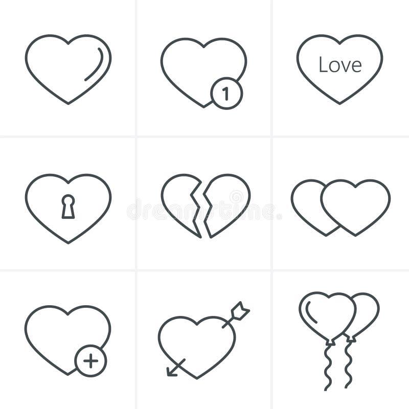 Ligne icônes de coeurs de style d'icônes réglées illustration de vecteur