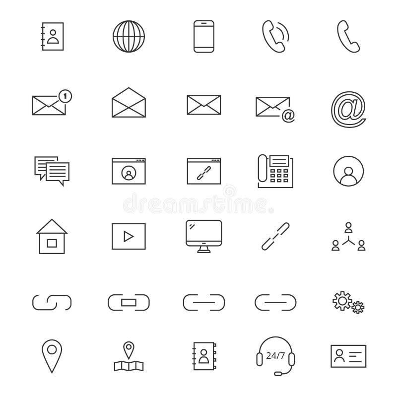 30 ligne icônes de contact illustration stock