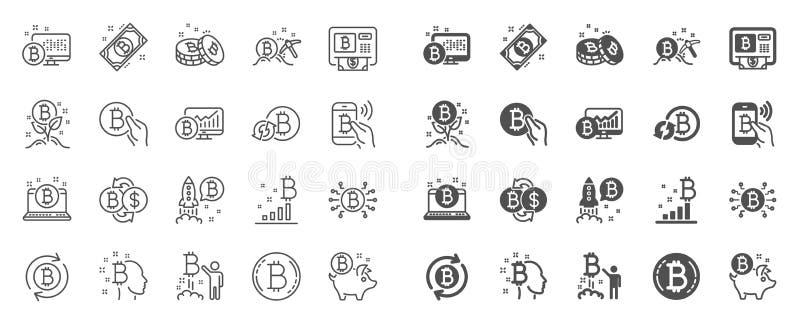 Ligne ic?nes de Cryptocurrency L'ensemble de Blockchain, crypto ICO commencent et Bitcoin Vecteur illustration de vecteur