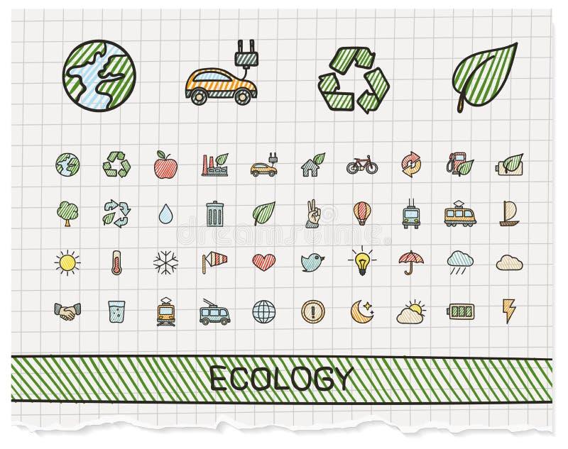 Ligne icônes de dessin de main d'écologie illustration de vecteur