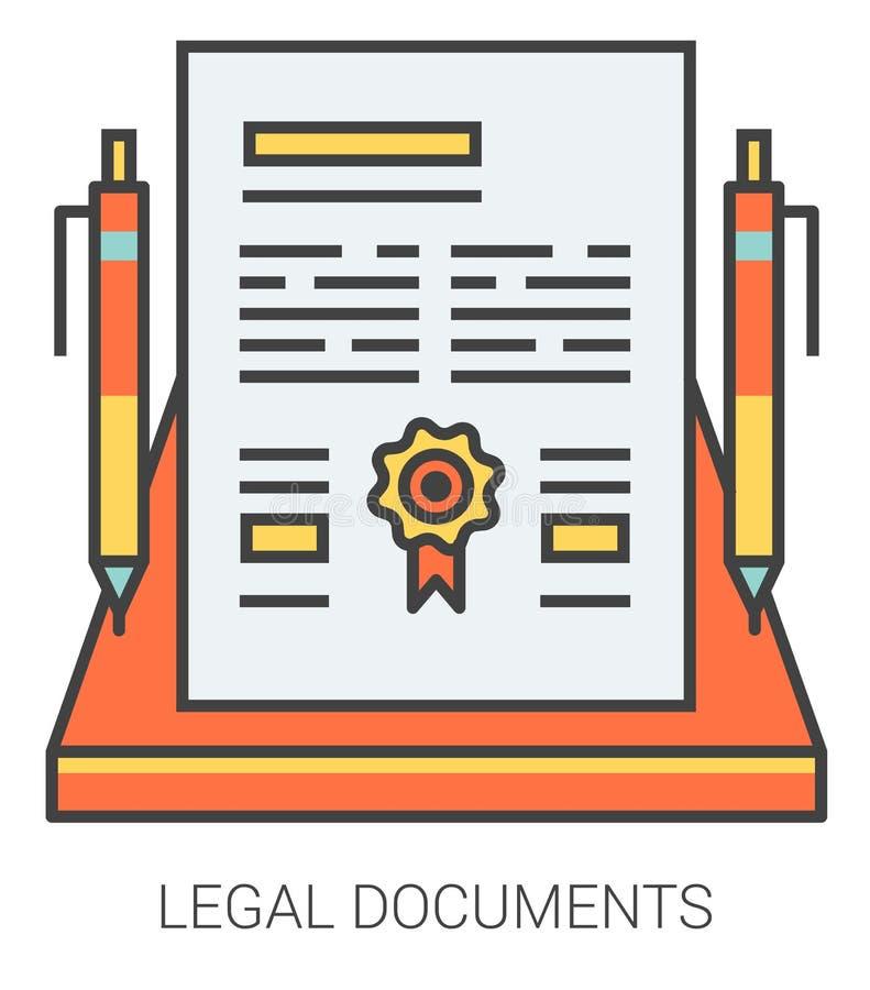 Ligne icônes de documents juridiques illustration de vecteur