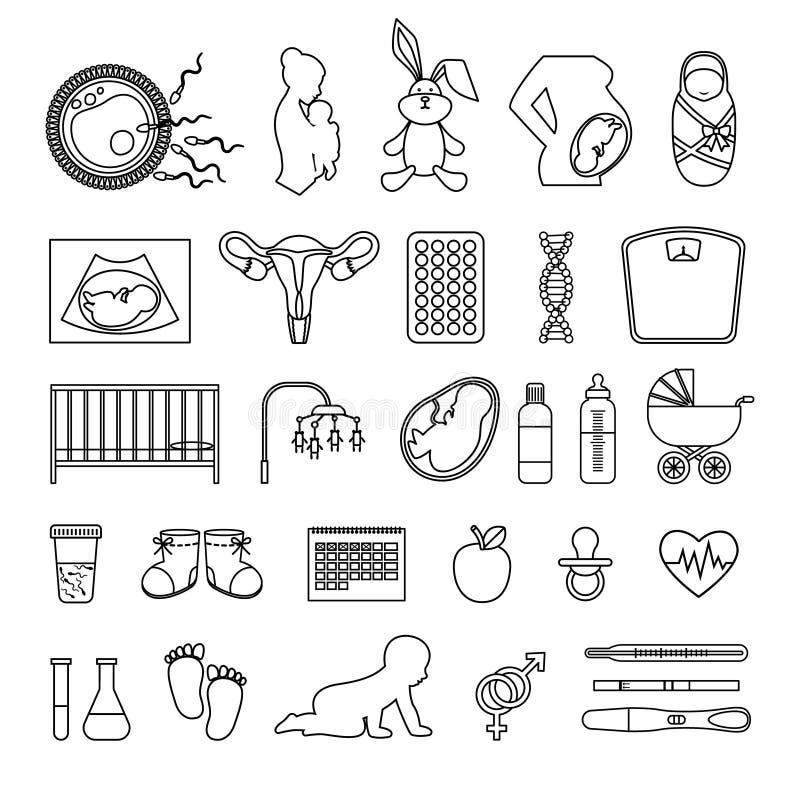 Ligne icônes de femme enceinte et de grossesse Décrivez le bébé de naissance de corps, signes nouveau-nés d'échelle illustration de vecteur