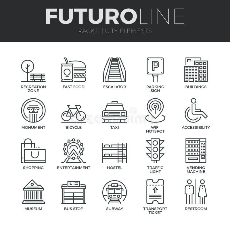 Ligne icônes de Futuro d'éléments de ville réglées illustration de vecteur