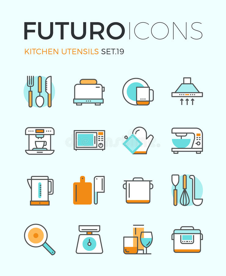 Ligne icônes de futuro d'ustensiles de cuisine illustration libre de droits