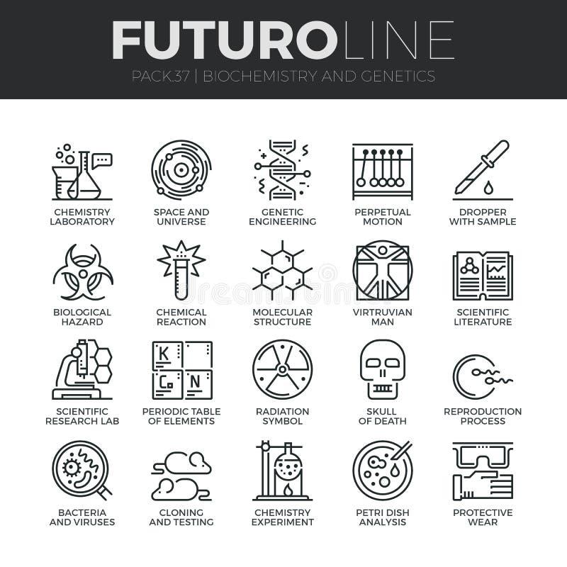 Ligne icônes de Futuro de biochimie et de génétique réglées illustration libre de droits
