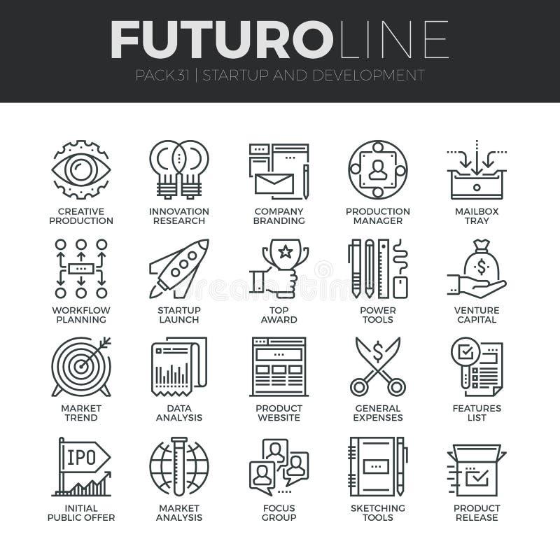Ligne icônes de Futuro de démarrage et de développement réglées illustration stock