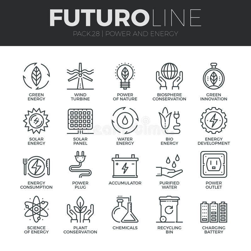 Ligne icônes de Futuro de puissance et d'énergie réglées illustration de vecteur