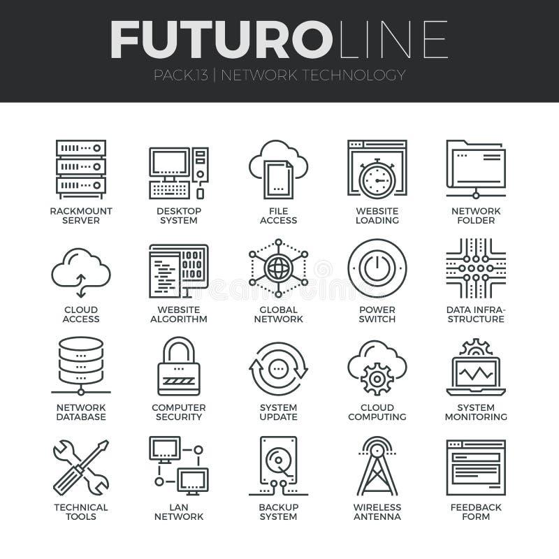 Ligne icônes de Futuro de technologie de réseau réglées illustration libre de droits