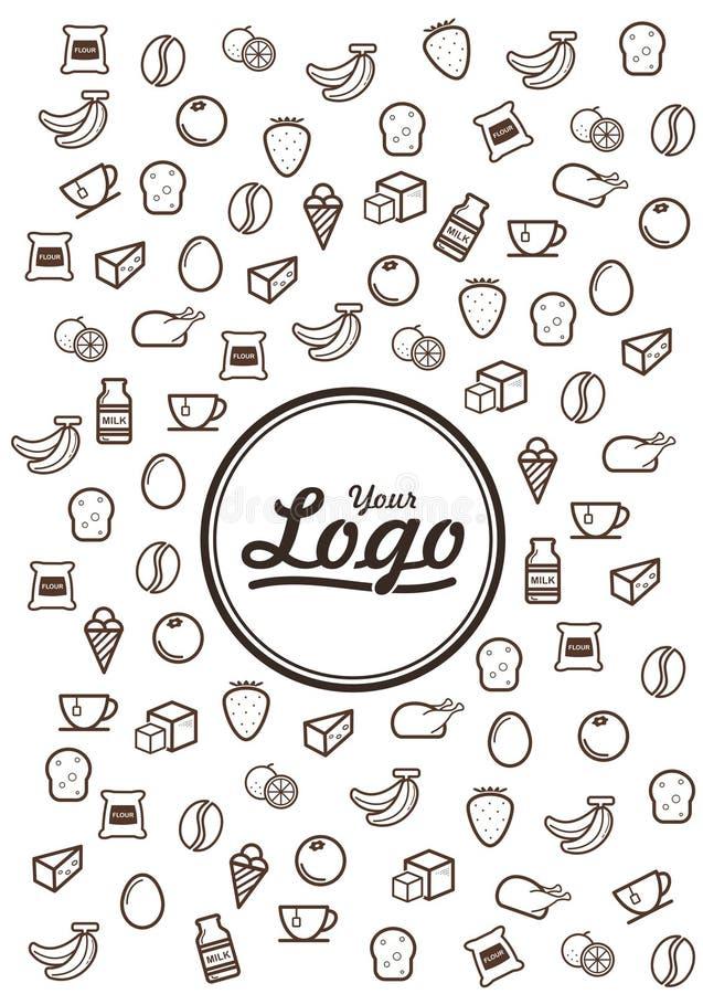 Ligne icônes de griffonnage de nourriture illustration stock
