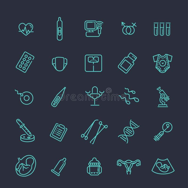 Ligne icônes de grossesse, de gynécologie, d'accouchement et de maternité réglées illustration libre de droits
