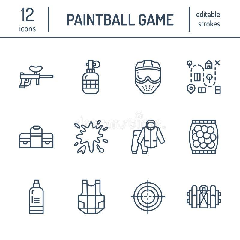 Ligne icônes de jeu de Paintball Équipement de sport en plein air, marqueur de boule de peinture, uniforme, masque, protection de illustration stock