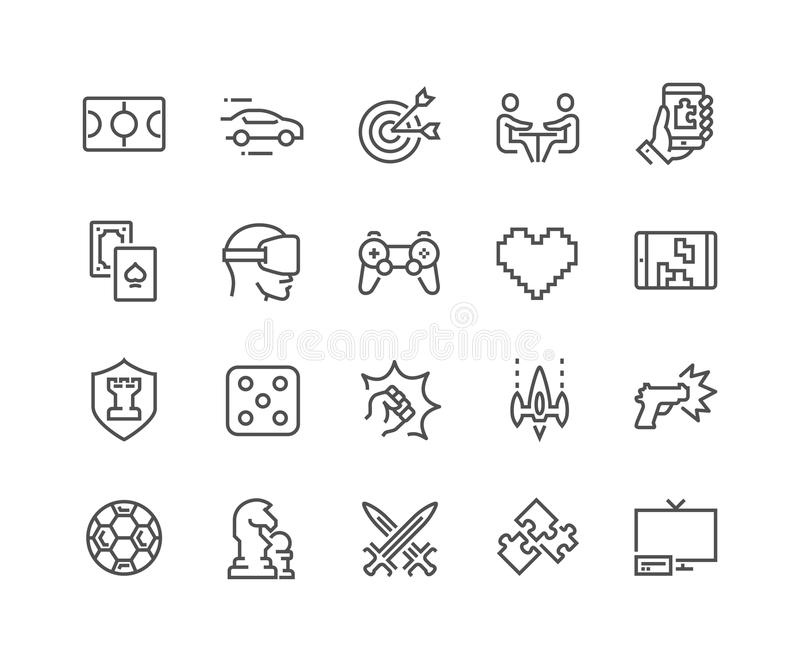 Ligne icônes de jeux illustration stock