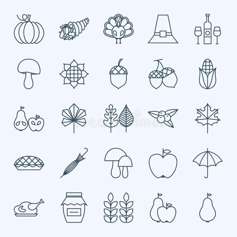 Ligne icônes de jour de thanksgiving de vacances réglées illustration libre de droits