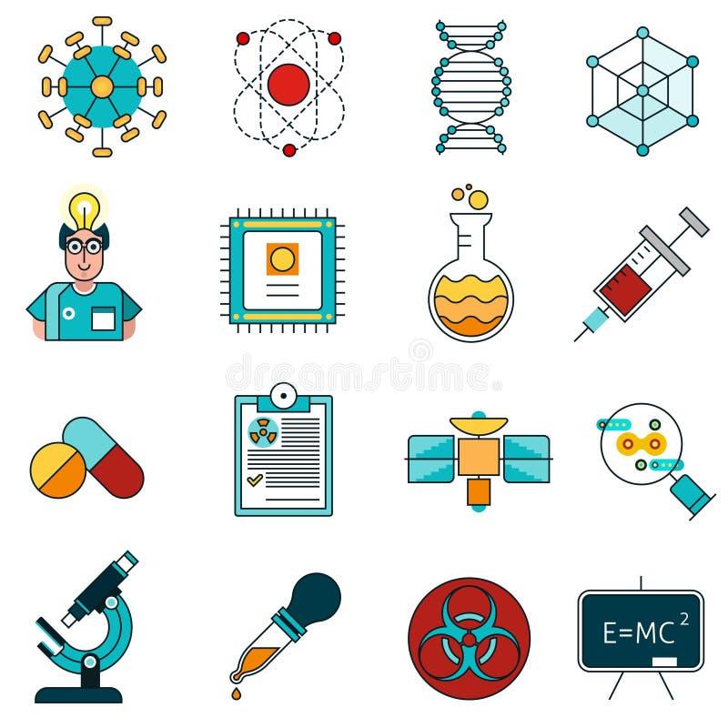 Ligne icônes de la Science réglées illustration libre de droits