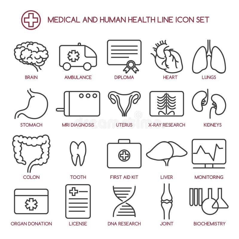 Ligne icônes de médecine et de santé des personnes illustration libre de droits