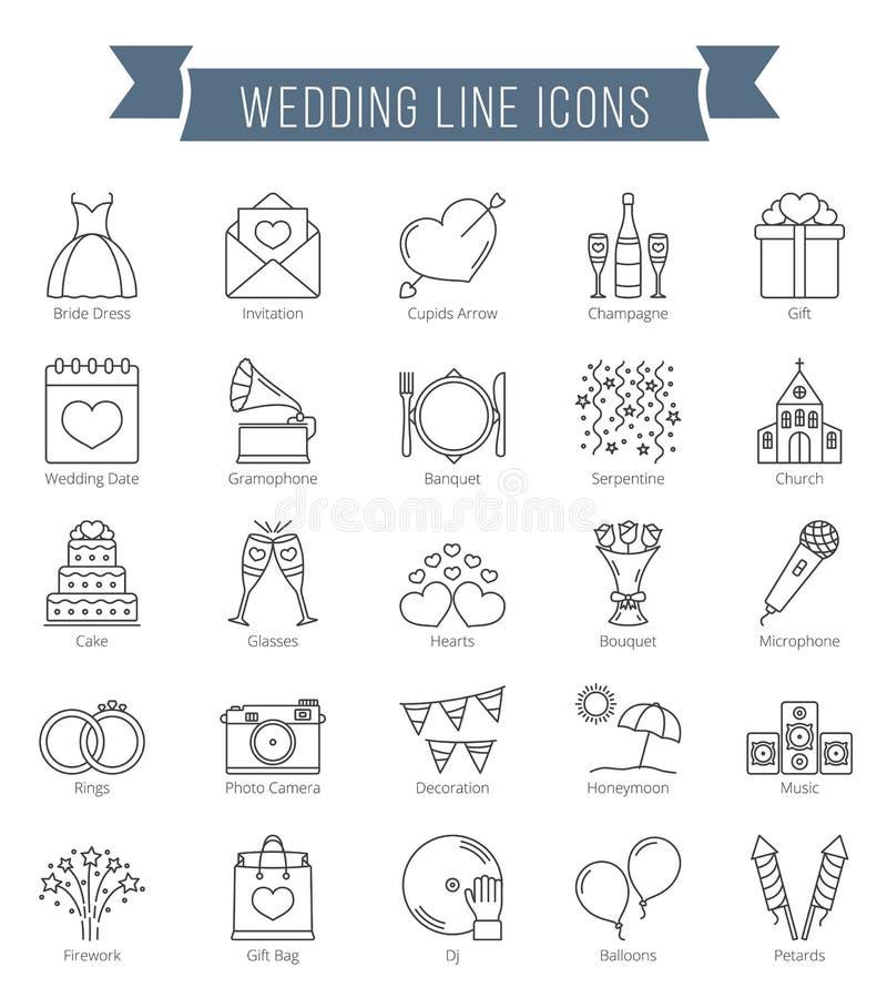 Ligne icônes de mariage illustration stock