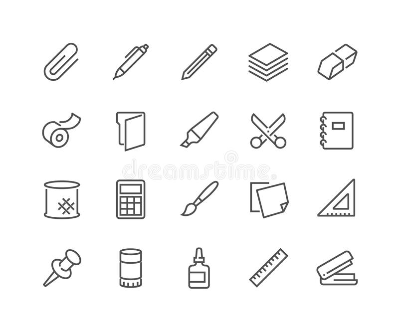 Ligne icônes de papeterie illustration stock