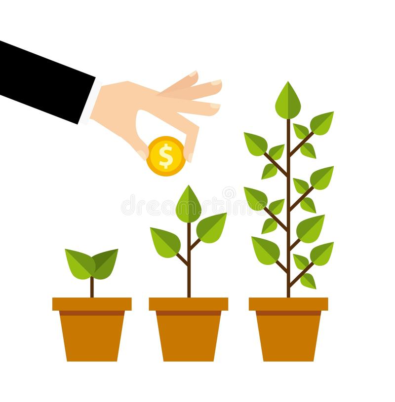 ligne icônes de placement d'affaires de croissance illustration stock