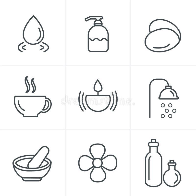 Ligne icônes de station thermale de style d'icônes réglées illustration de vecteur