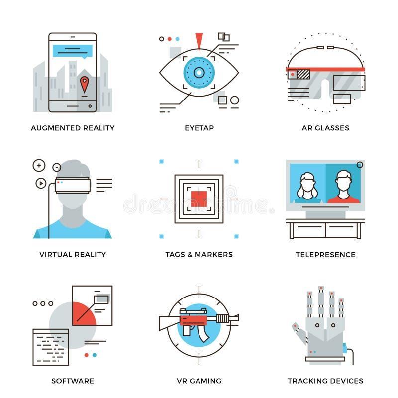 Ligne icônes de technologie de réalité virtuelle réglées illustration libre de droits