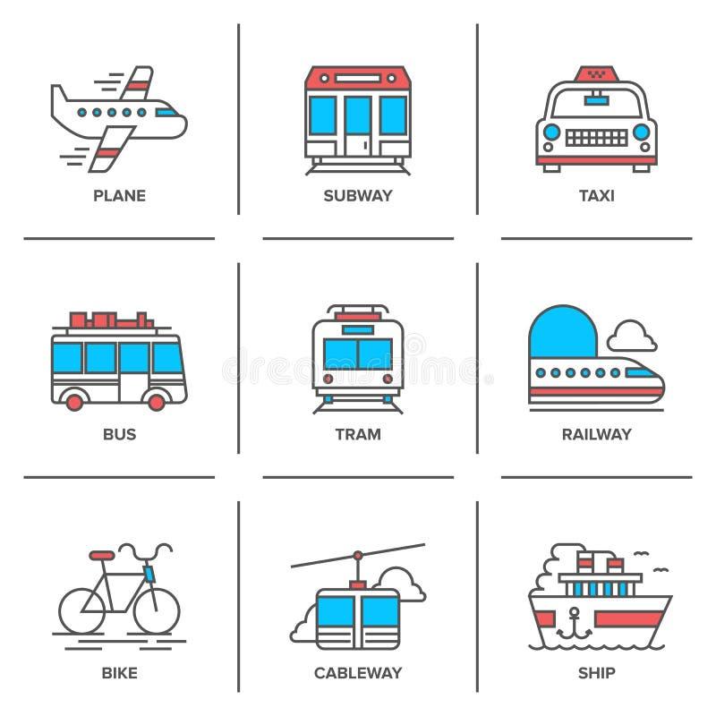 Ligne icônes de transport réglées illustration stock