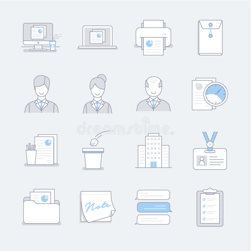 Ligne icônes de travail dans la couleur en pastel bleue illustration stock