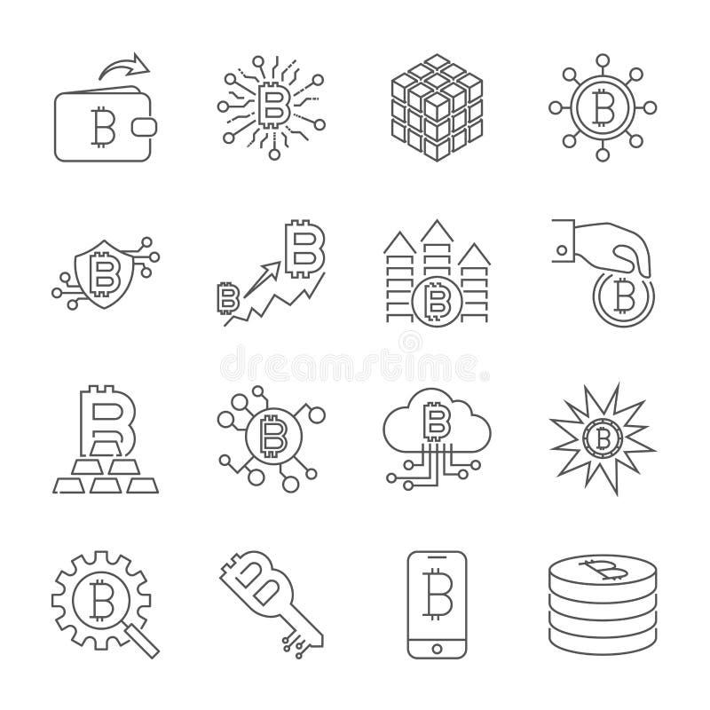 Ligne ic?nes de vecteur de Cryptocurrency Symboles minces de Bitcoin d'ensemble illustration stock