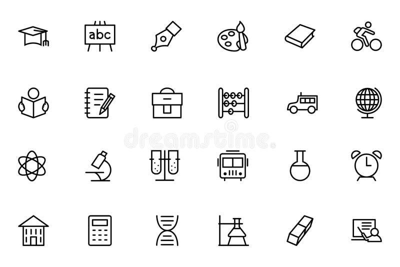 Ligne icônes 1 de vecteur d'éducation illustration libre de droits