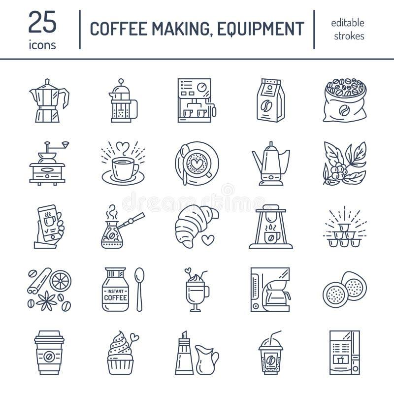Ligne icônes de vecteur d'équipement à café Éléments - pot de moka, presse de Français, broyeur de café, expresso, se vendant illustration de vecteur