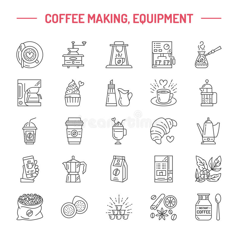 Ligne icônes de vecteur d'équipement à café Le pot de moka d'éléments, Français pressent, broyeur de café, expresso, vente, café illustration stock