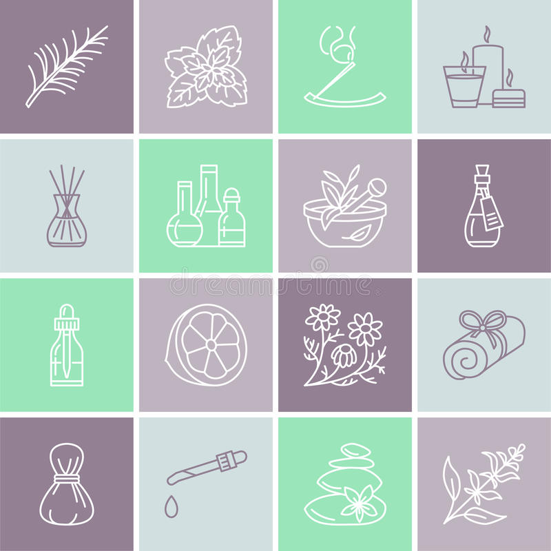 Ligne icônes de vecteur d'aromatherapy d'huiles essentielles réglées Éléments - diffuseur de thérapie d'arome, brûleur à mazout,  illustration libre de droits