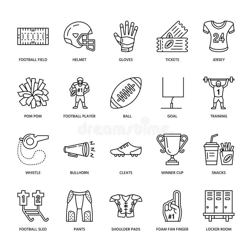 Ligne icônes de vecteur de jeu de football américain Éléments - boule, champ, joueur, casque, corne de brume Signes linéaires rég illustration de vecteur
