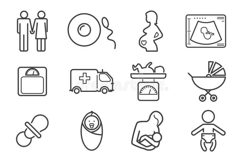 Ligne icônes de vecteur de médecine et de grossesse réglées illustration de vecteur