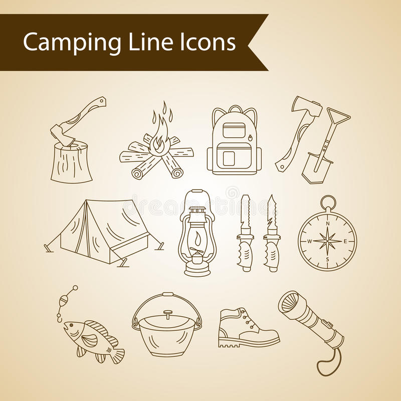 Download Ligne Icônes De Vecteur De Vacances De Camping Illustration de Vecteur - Illustration du ligne, cartoon: 77161524