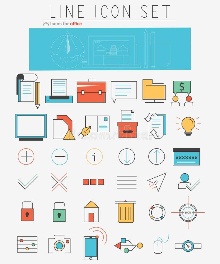 Ligne icônes de vecteur réglées Éléments de web design et illustration libre de droits