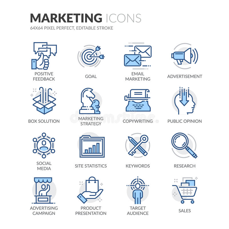 Ligne icônes de vente illustration stock