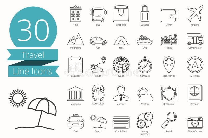 Ligne icônes de voyage illustration stock