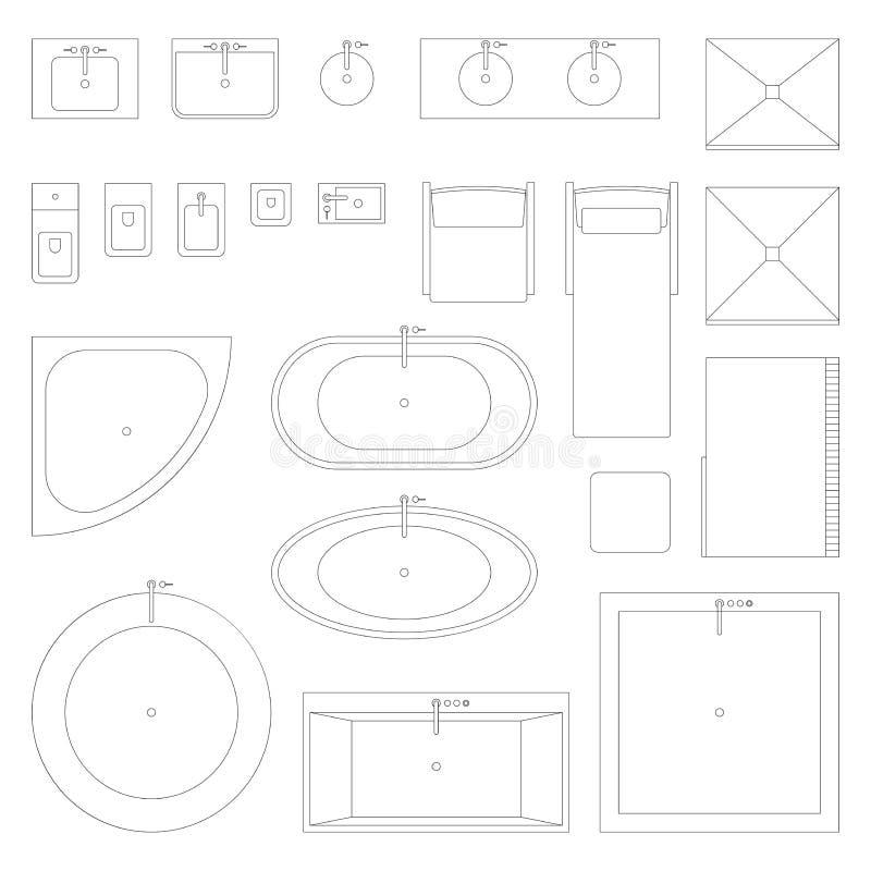 Ligne icônes intérieures pour la salle de bains illustration de vecteur