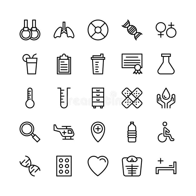 Ligne icônes 2 médicale, de santé et de forme physique de vecteur illustration stock